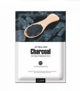 Cos W  Маска-салфетка с древесным углем My Real Skin Charcoal Facial Mask